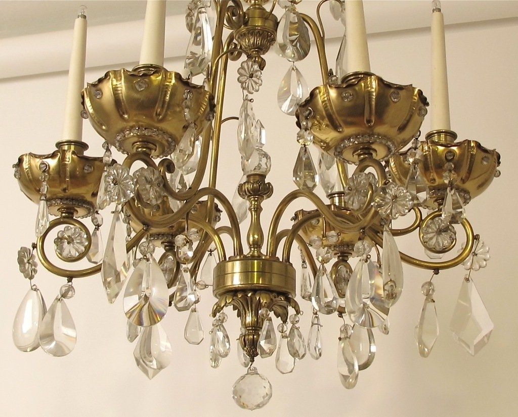 Crystal And Brass Chandelier Intended For Well Liked French Bagues Style Brass And Crystal Chandelier For Sale At 1Stdibs (View 1 of 15)