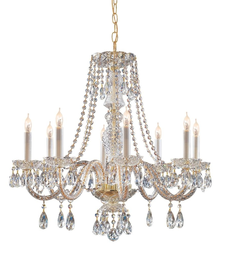 Crystal And Brass Chandelier Throughout Newest Buy 10 Lights Polished Brass Crystal Chandelier (View 8 of 15)