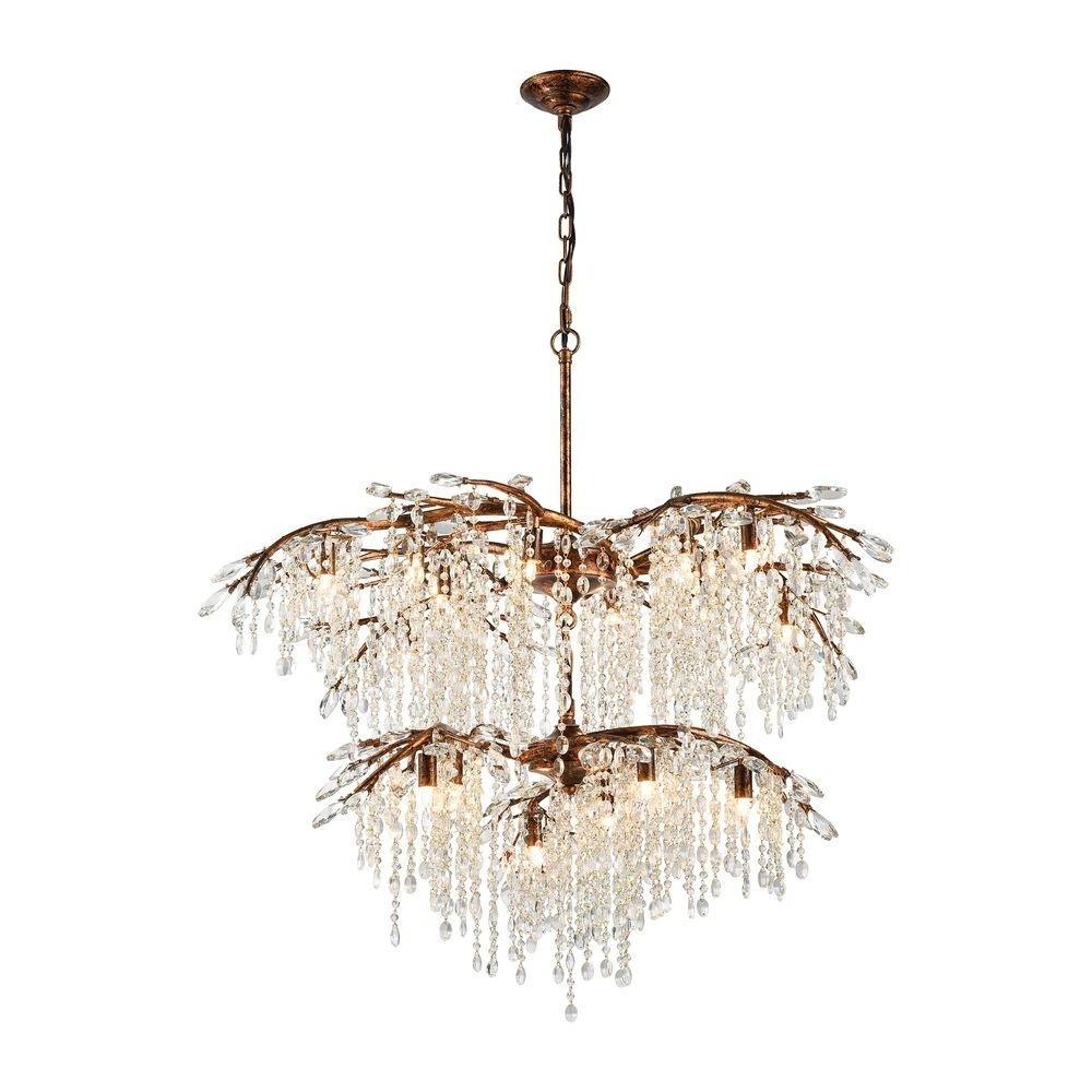 Crystal Branch Chandelier With Regard To Recent Titan Lighting Elia 18 Light Spanish Bronze Chandelier With Metal (View 1 of 15)