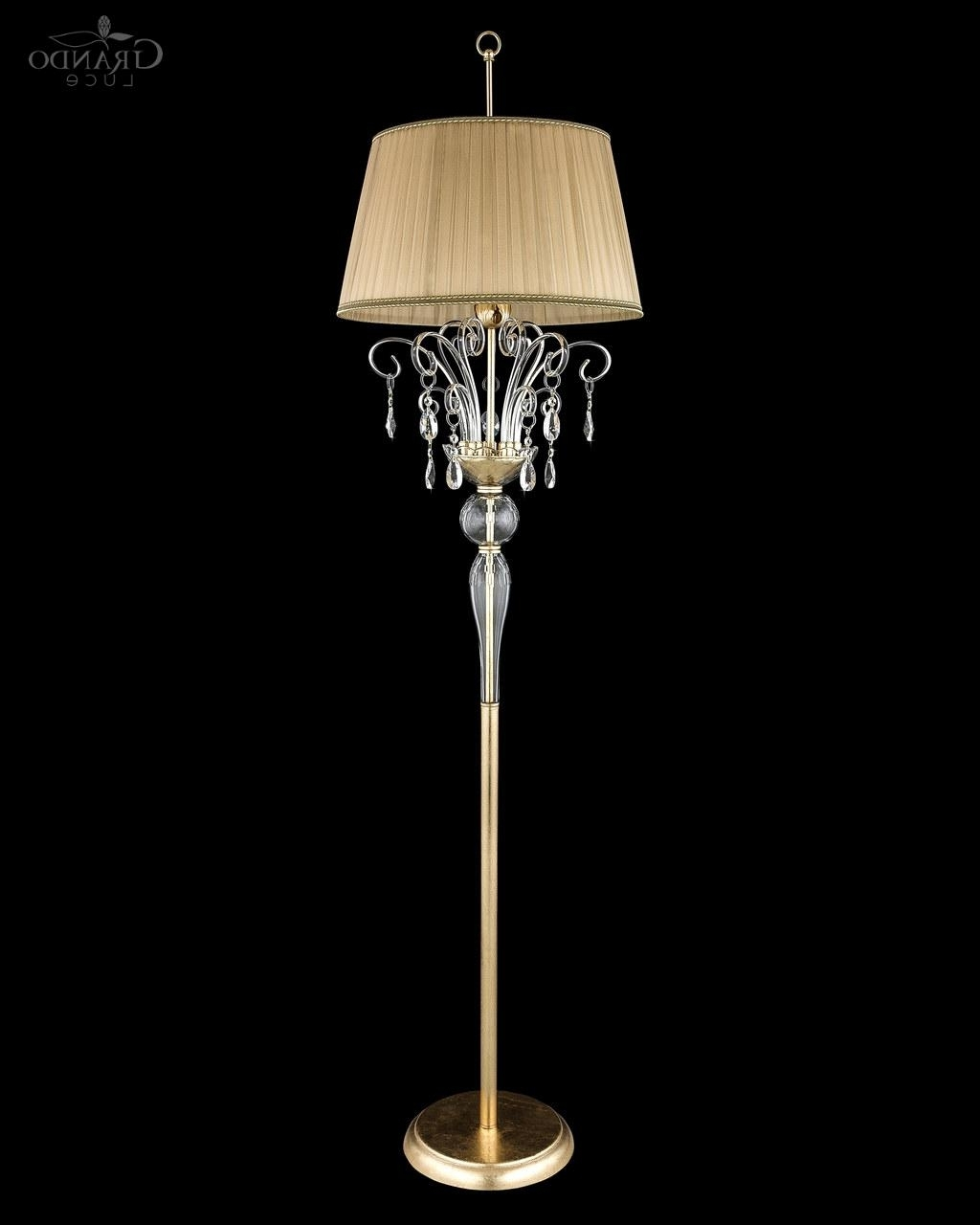 Crystal Chandelier Standing Lamps For 2018 120/fl Gold Leaf Crystal Floor Lamp – Grandoluce (View 9 of 15)