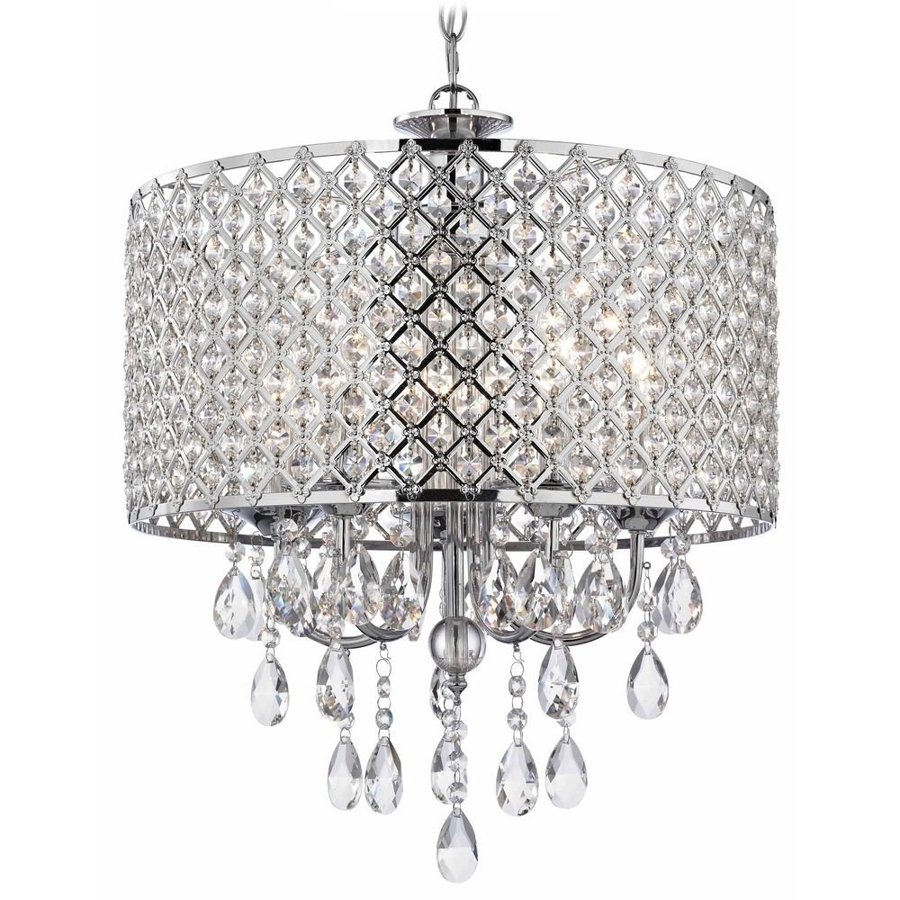 Crystal Chrome Chandelier Pendant Light With Crystal Beaded Drum Throughout Trendy Chrome And Crystal Chandelier (View 12 of 15)