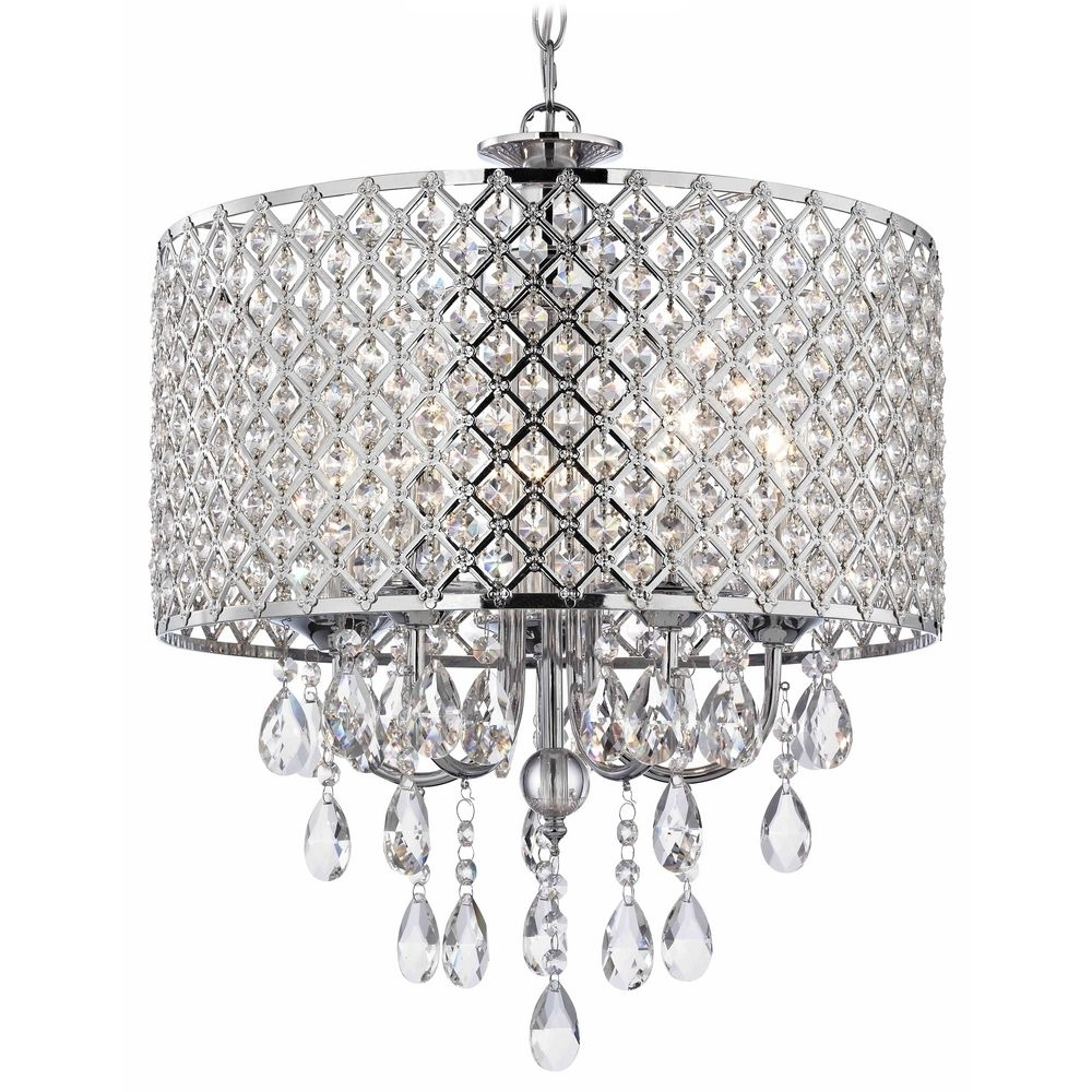 Crystal Chrome Chandeliers Regarding Well Liked Crystal Chrome Chandelier Pendant Light With Crystal Beaded Drum (View 7 of 15)
