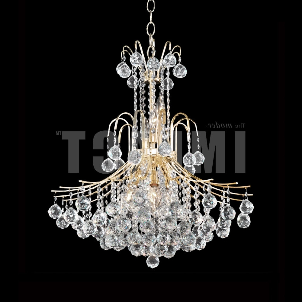 Crystal Gold Chandelier With Regard To Preferred James Moder 40317G22 Cascade Crystal Gold Chandelier Lamp – Jam 40317G (View 9 of 15)