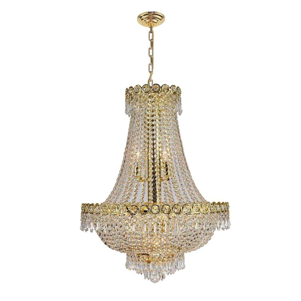 Crystal Gold Chandeliers For Popular Worldwide Lighting Empire Collection 12 Light Polished Gold And (View 3 of 15)