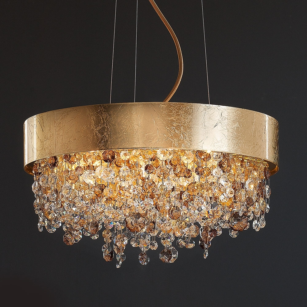 Crystal Gold Chandeliers With Regard To Preferred Round Gold Leaf Contemporary Chandelier (View 15 of 15)