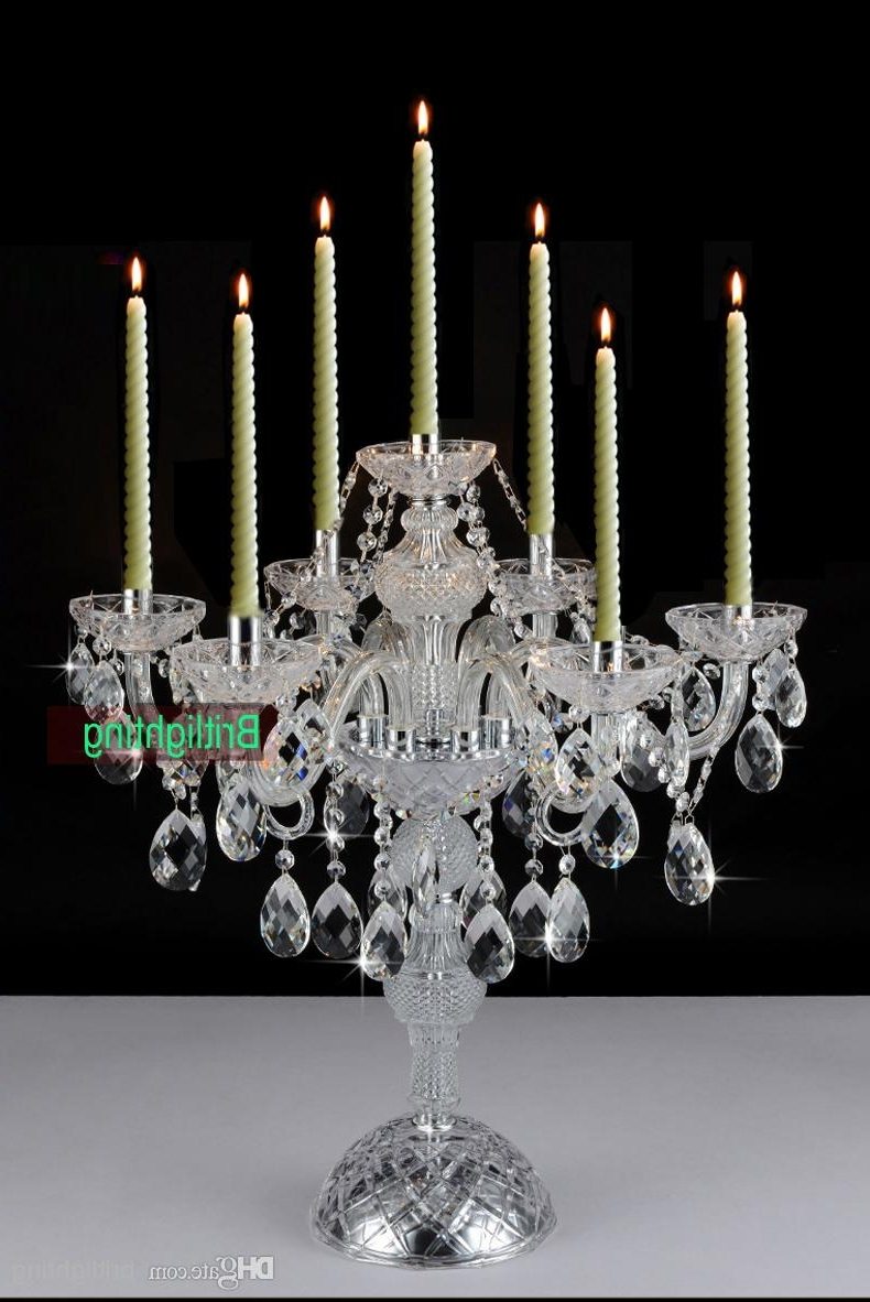 Crystal Table Chandeliers Intended For Most Recently Released Modern Desk Crystal Candelabra Centerpieces Wedding Glass Arms (View 8 of 15)