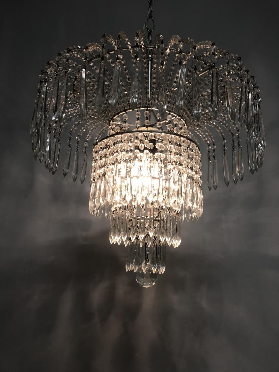 Crystal Waterfall Chandelier With Regard To Most Recent Vintage Italian Crystal Beaded Waterfall Chandelier For Sale At Pamono (View 3 of 15)