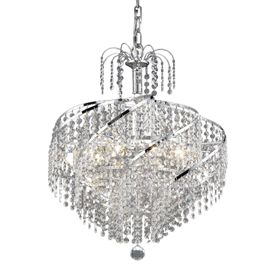 Crystal Waterfall Chandelier With Regard To Preferred Shop Elegant Lighting Spiral 18 In 8 Light Chrome Crystal Crystal (View 13 of 15)