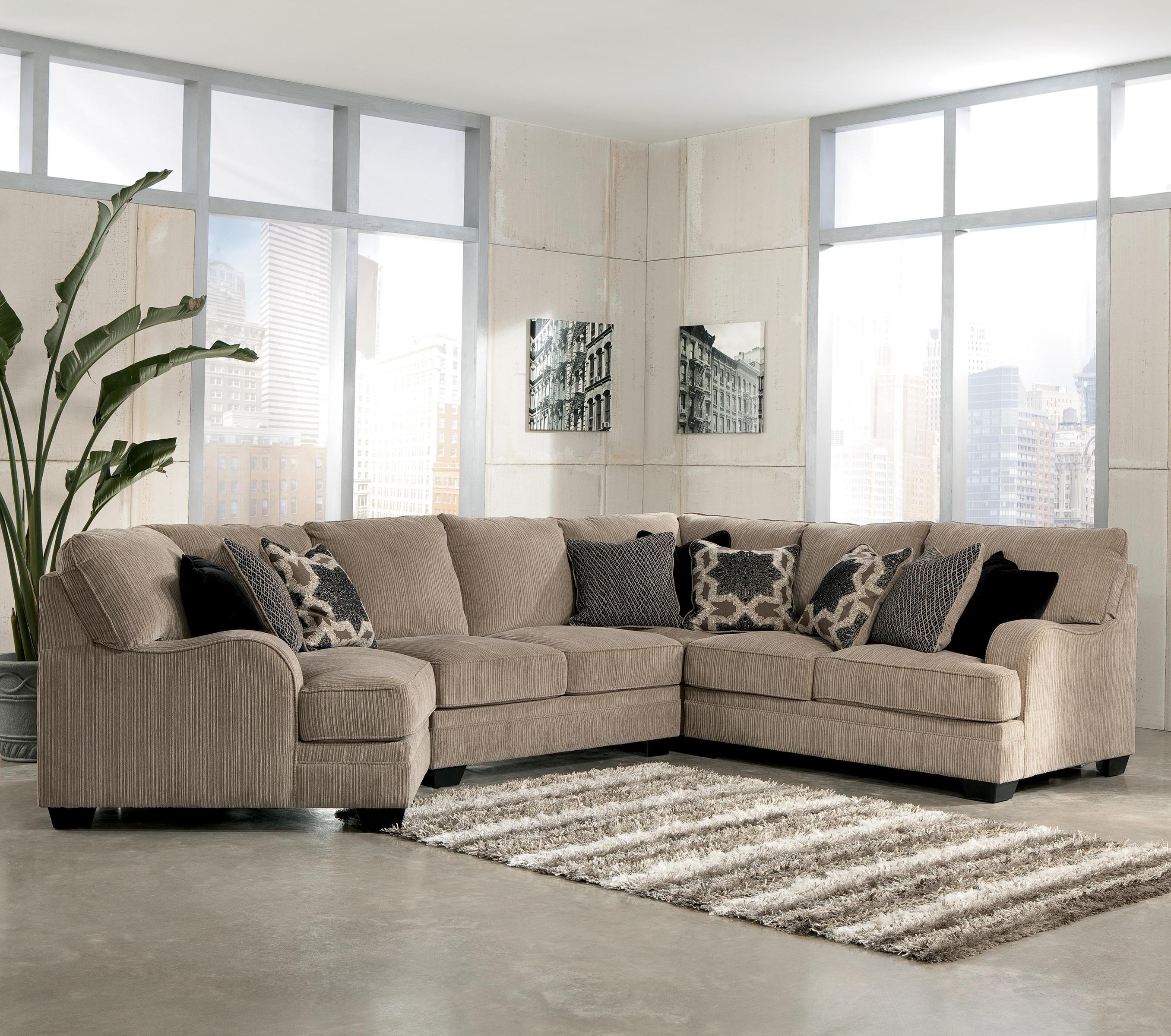 Cuddler Sectional Sofas Throughout Fashionable Signature Designashley Katisha – Platinum 4 Piece Sectional (View 4 of 15)