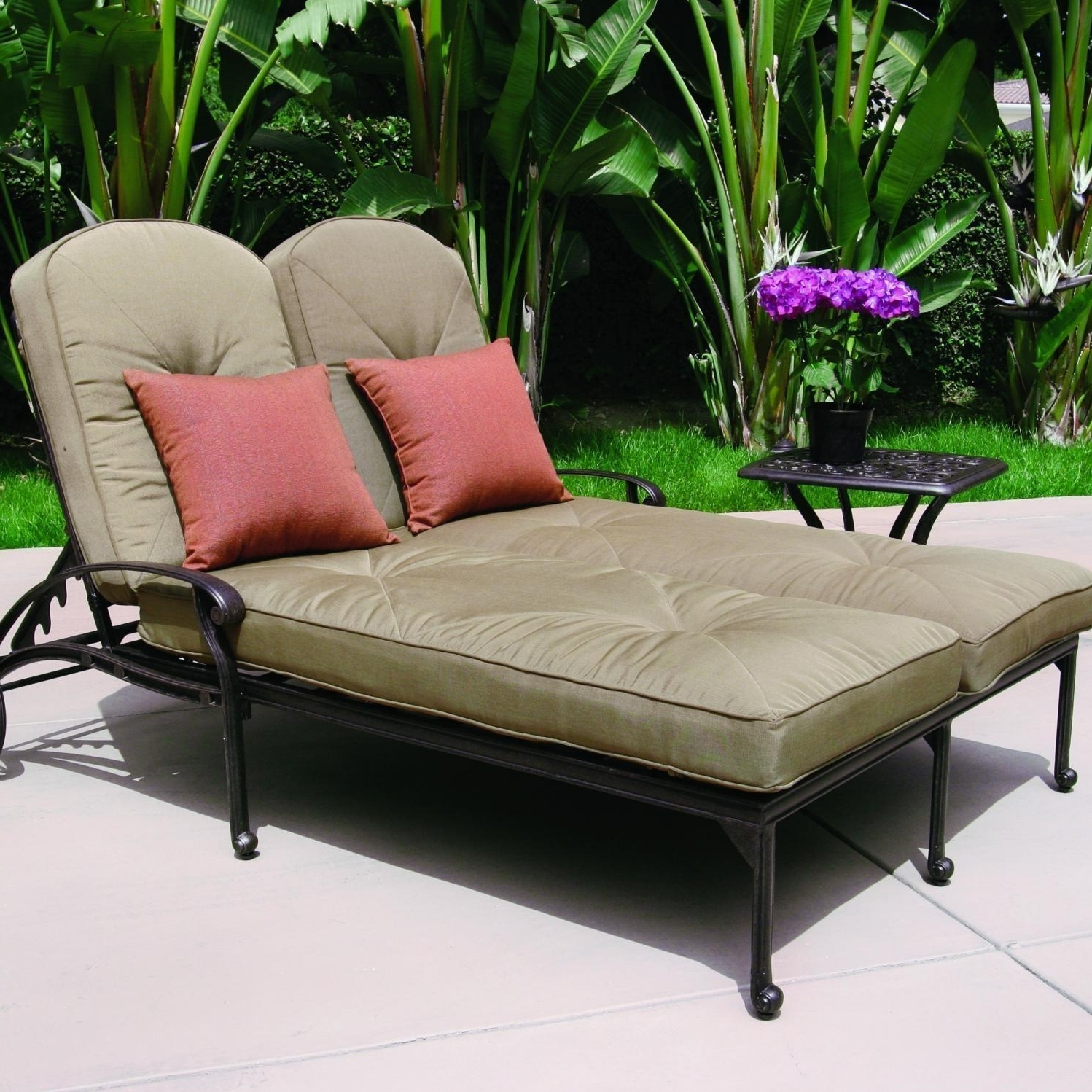 Current 2 Person Chaise Lounges With Regard To Darlee Elisabeth 2 Piece Cast Aluminum Patio Double Chaise Lounge (View 6 of 15)
