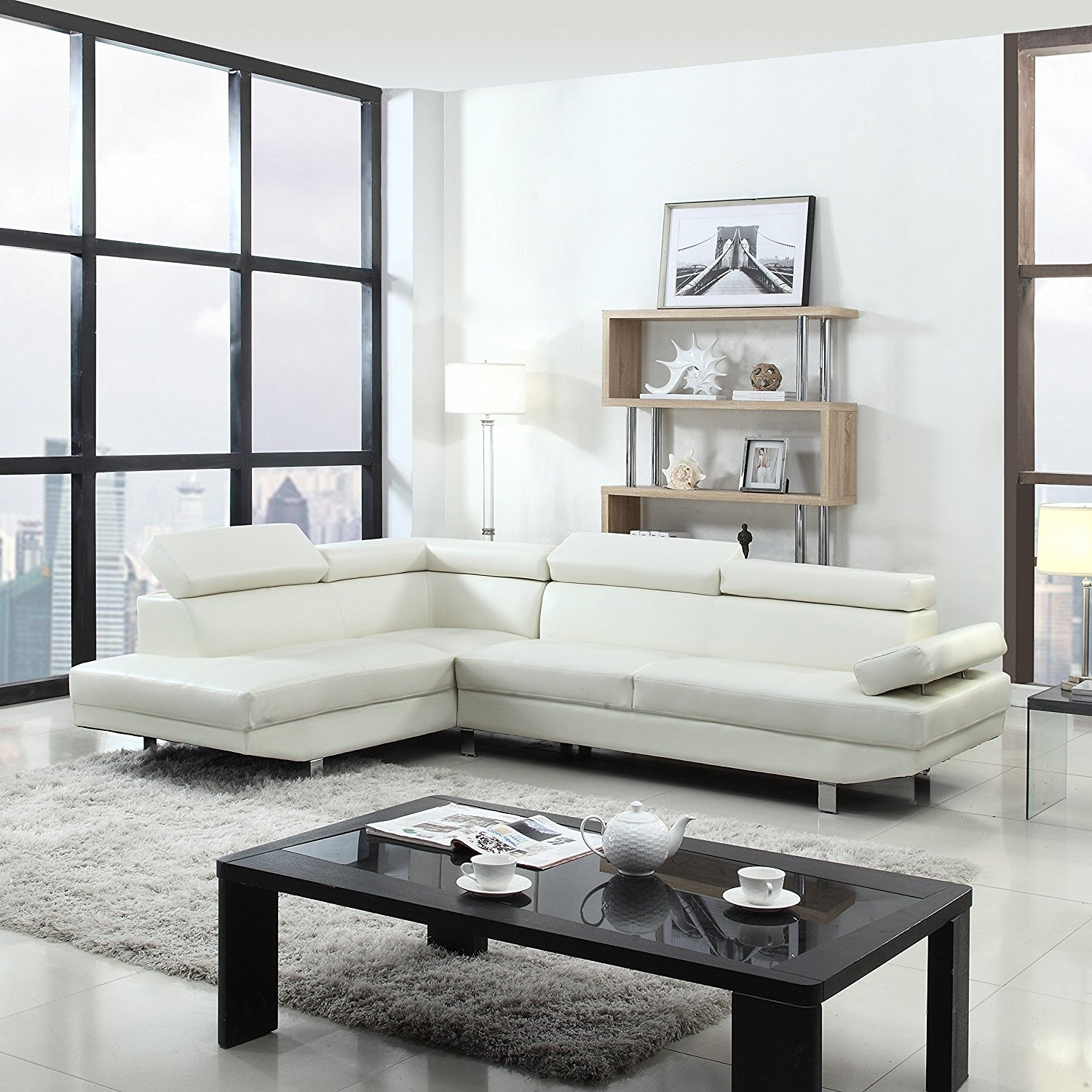Current Amazon: 2 Piece Modern Contemporary Faux Leather Sectional Inside White Sectional Sofas (View 2 of 15)