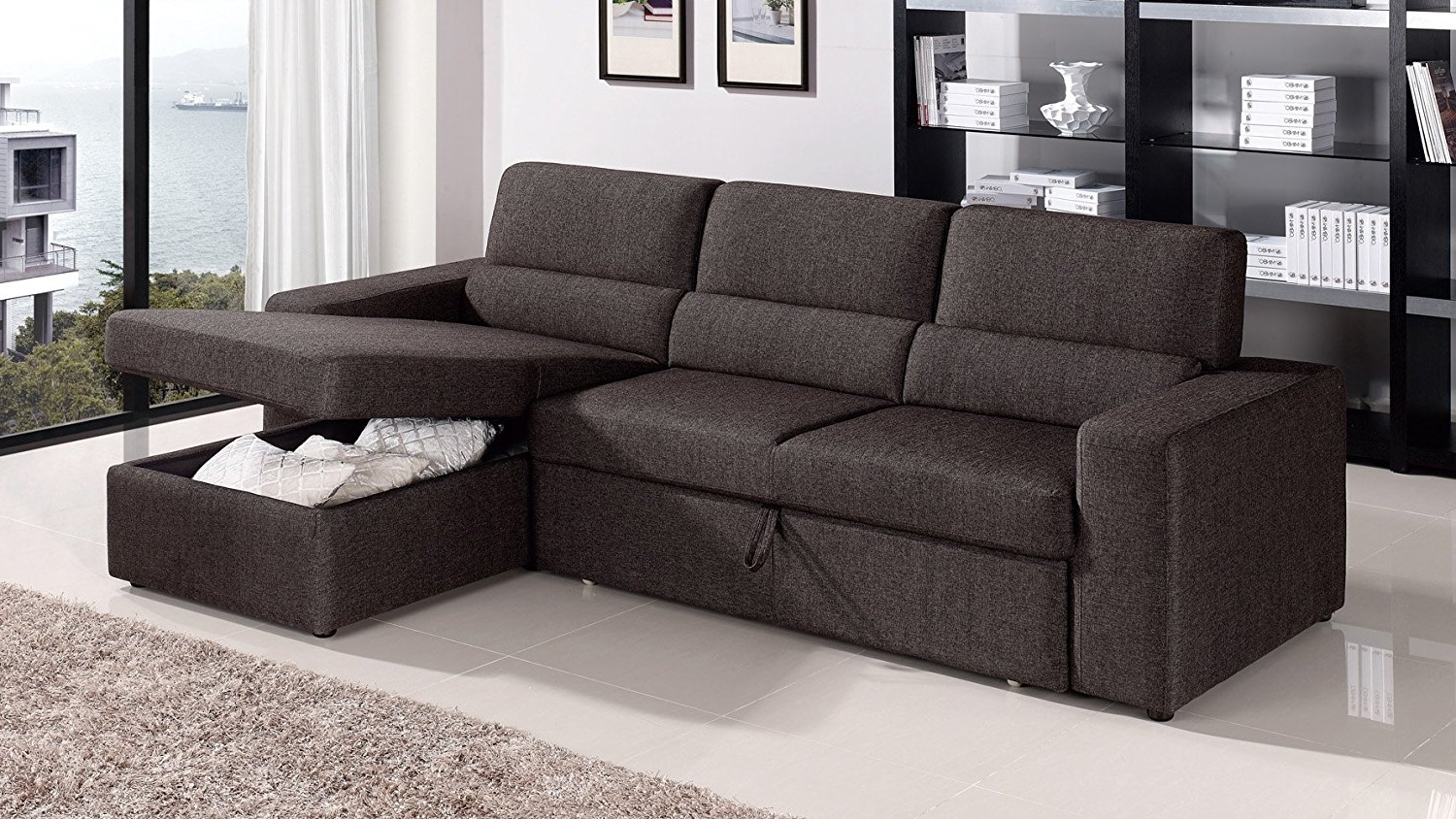 Current Amazon: Black/brown Clubber Sleeper Sectional Sofa – Right With Sectional Sofa Chaises (View 11 of 15)