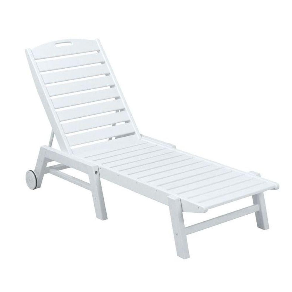 Current Armless Chaise Lounges Inside Polywood Nautical White Wheeled Armless Plastic Outdoor Patio (View 9 of 15)