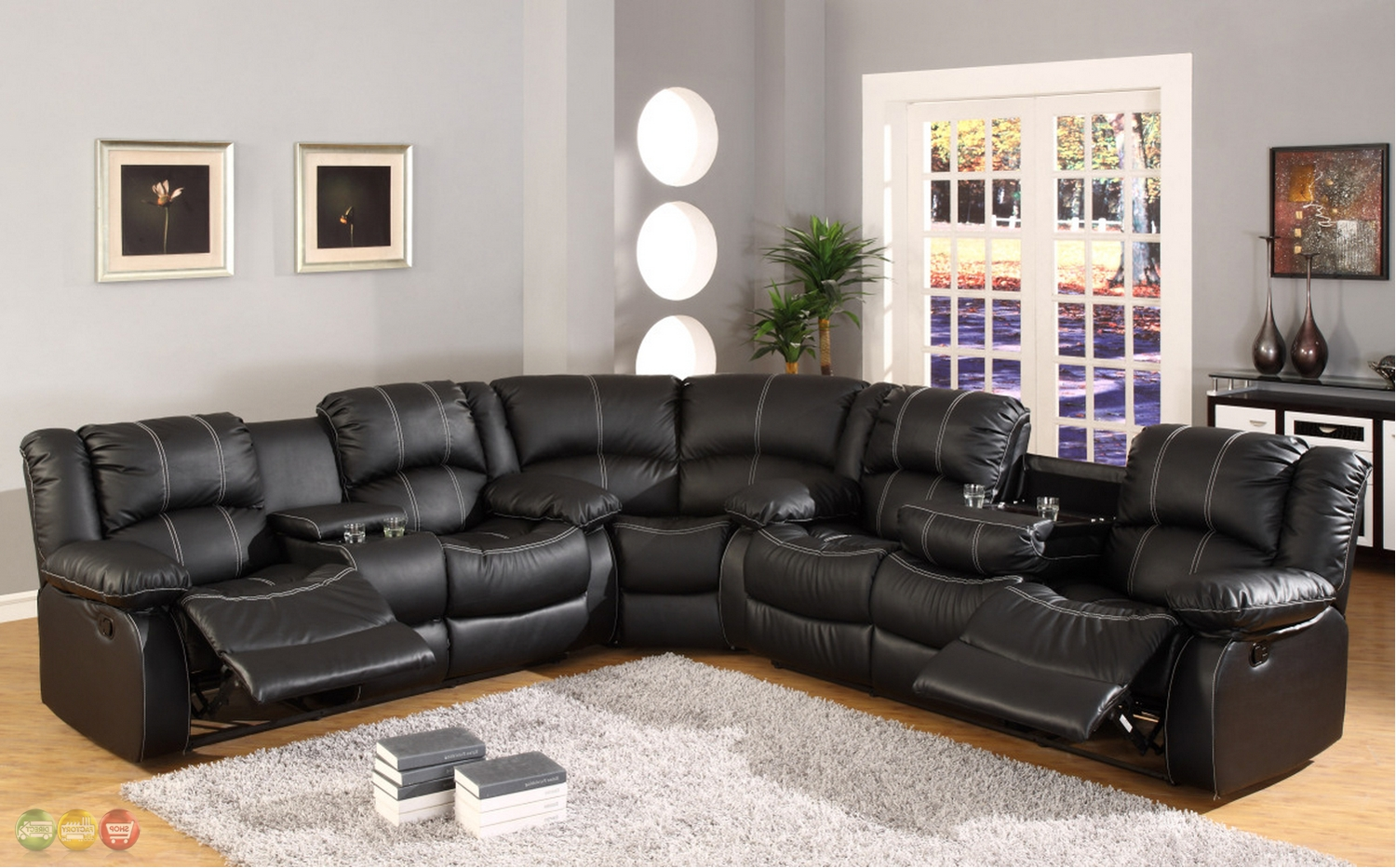 Current Black Faux Leather Reclining Motion Sectional Sofa W/ Storage Inside Sofas With Consoles (View 4 of 15)