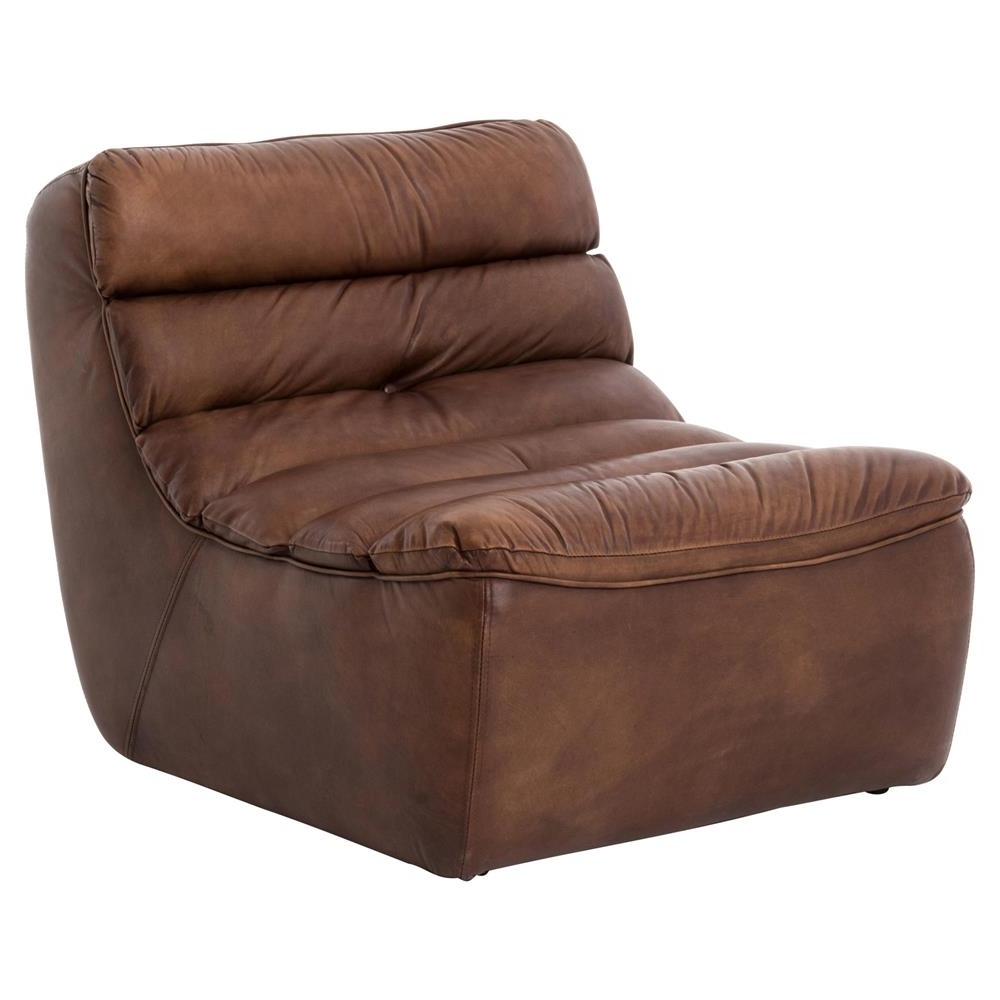 Current Brown Chaise Lounges Regarding Lammerley Rustic Lodge Brown Leather Channel Back Chaise Lounge (View 5 of 15)