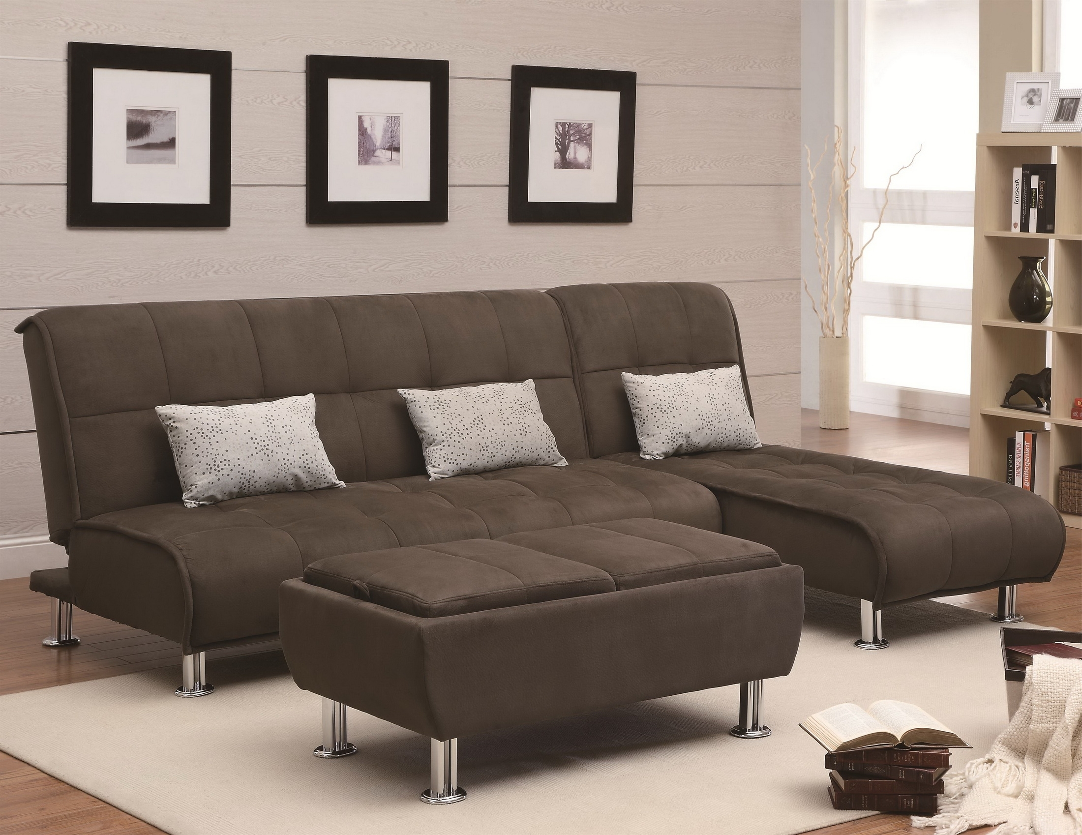 Current Brown Velvet Sectional Sofa With High Back And Grey Cushions Plus Intended For Sectional Sofas With High Backs (View 7 of 15)