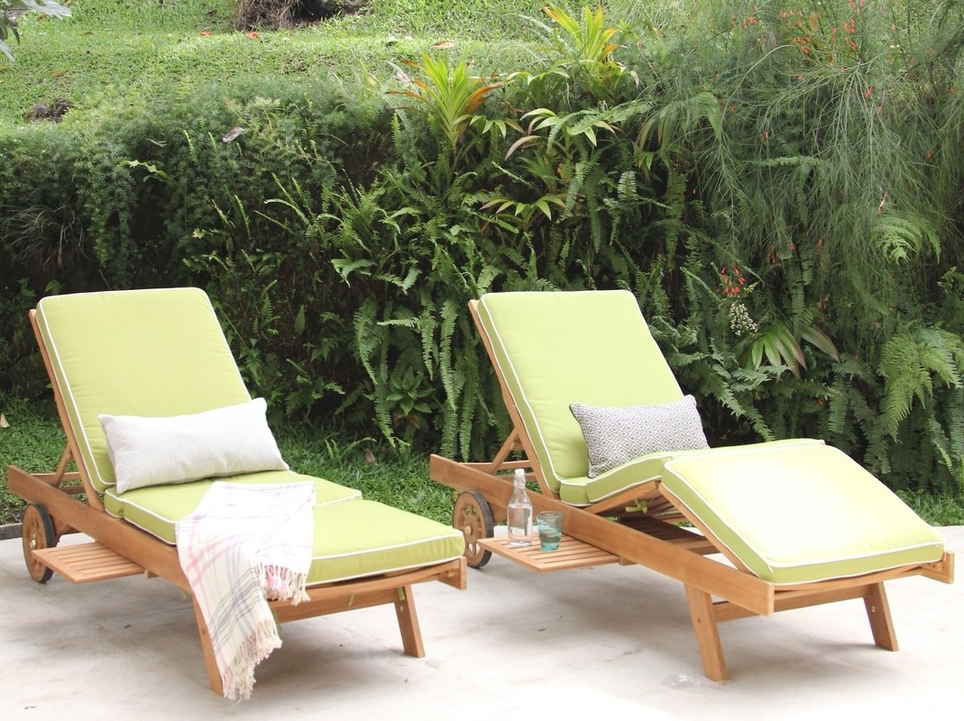 Current Cambridge Casual Monterey Teak Chaise Lounge With Cushion For Teak Chaise Lounge Cushions (View 1 of 15)
