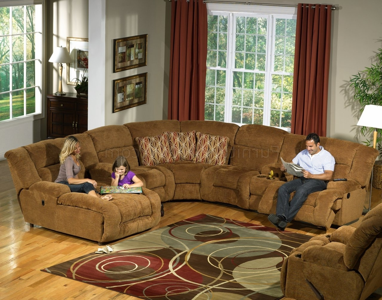 Current Camel Fabric Enterprise 4Pc Reclining Sectional Sofa W/options Inside Camel Sectional Sofas (View 1 of 15)