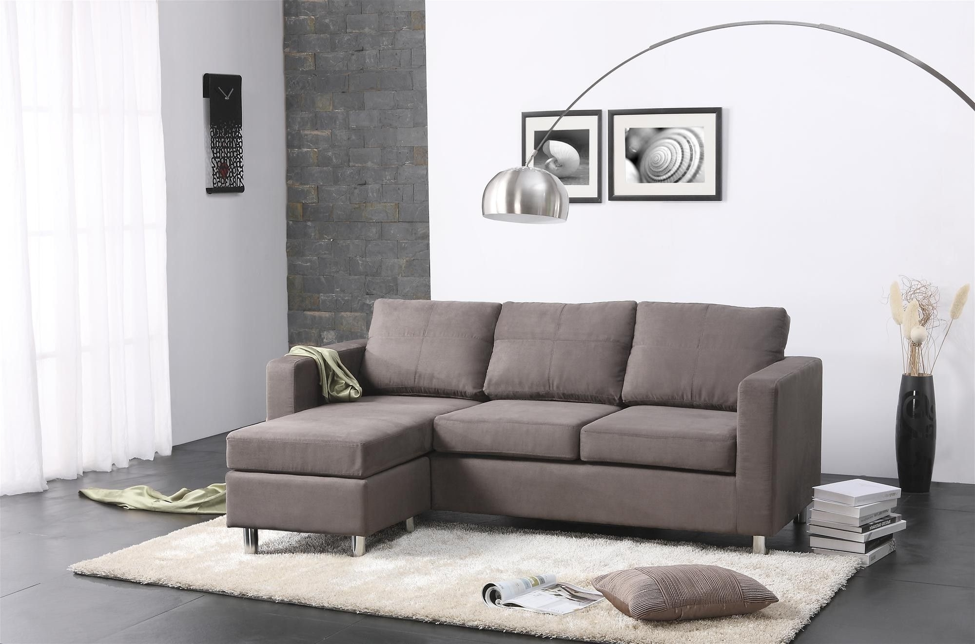 Current Chaise Lounge Chairs For Small Spaces Intended For Amazing Modern Small Spaces Living Room Decors With Grey Sectional (View 6 of 15)