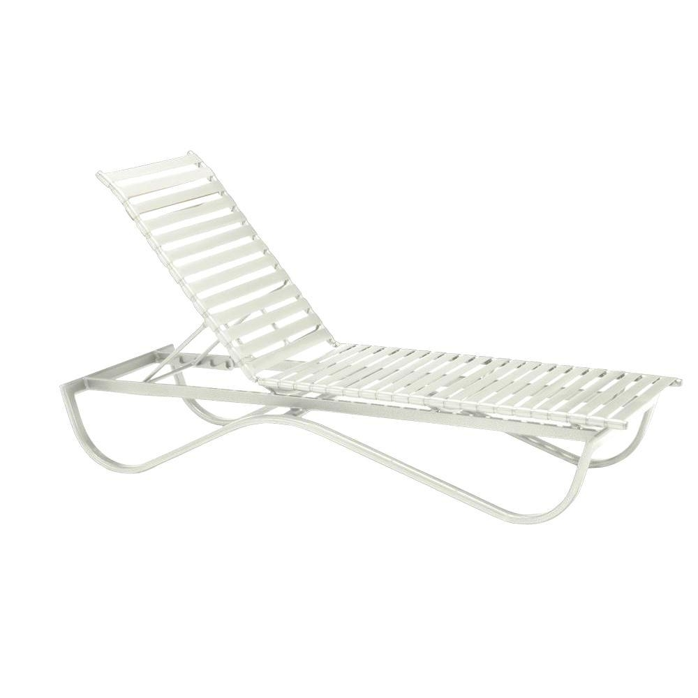 Current Chaise Lounge Strap Chairs Pertaining To Tradewinds Scandia White Commercial Strap Stackable Patio Chaise (View 6 of 15)