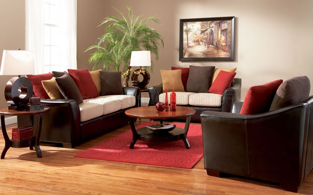 Current Colorful Sofas And Chairs For Two Tone Contemporary Living Room Sofa W/multi Color Pillows (View 6 of 15)
