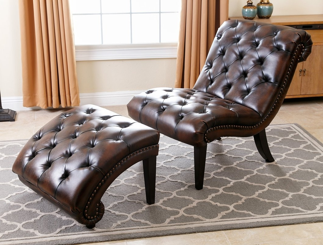 Current Darby Home Co Delbert Leather Chaise Lounge And Ottoman & Reviews For Brown Leather Chaises (View 4 of 15)
