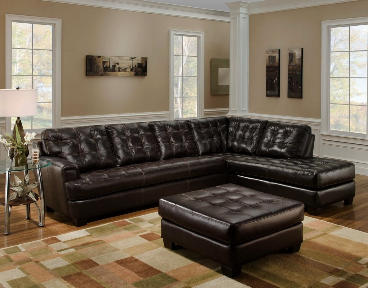 Current Dark Brown Leather Tufted Sectional Chaise Lounge Sofa With Regarding Leather Sectionals With Chaise (View 1 of 15)