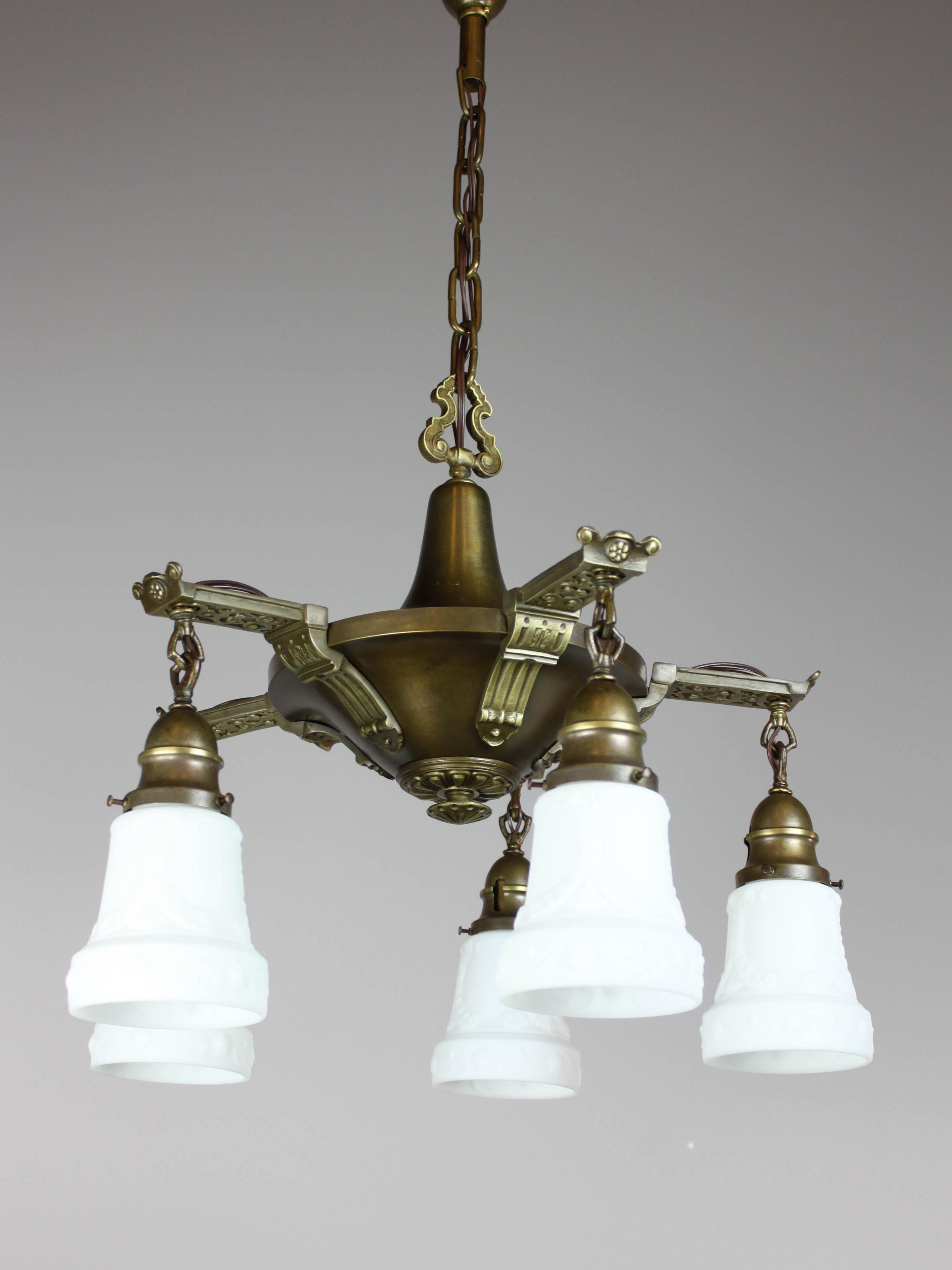 Current Edwardian Chandelier Regarding Antique Edwardian Pan Light Fixture (5 Light) (View 7 of 15)
