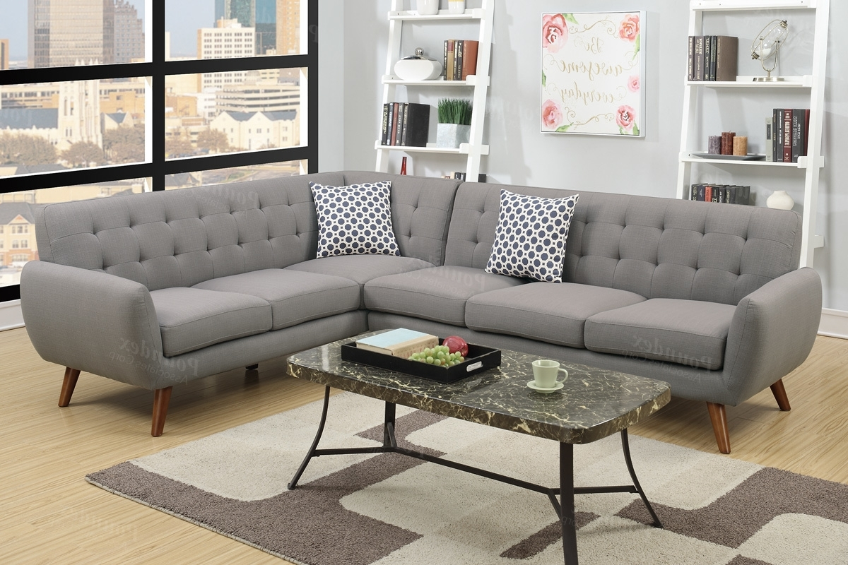 Current Fabric Sectional Sofas Pertaining To Grey Fabric Sectional Sofa – Steal A Sofa Furniture Outlet Los (View 1 of 15)