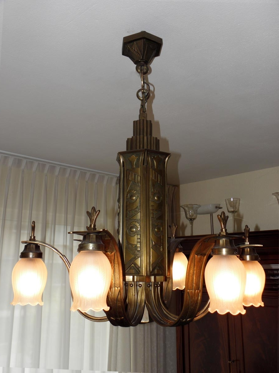 Current French Art Deco Bronze Chandelier, 1920S For Sale At Pamono With Art Deco Chandelier (View 13 of 15)