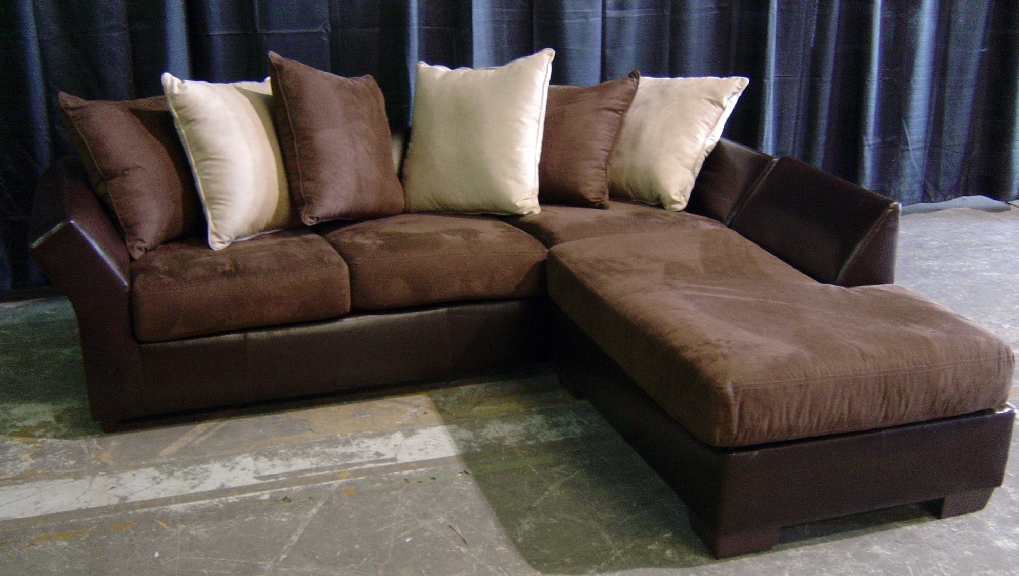 Current Leather L Shaped Sectional Sofas With Regard To Leather And Suede Sectional Sofa – Radiovannes (View 9 of 15)