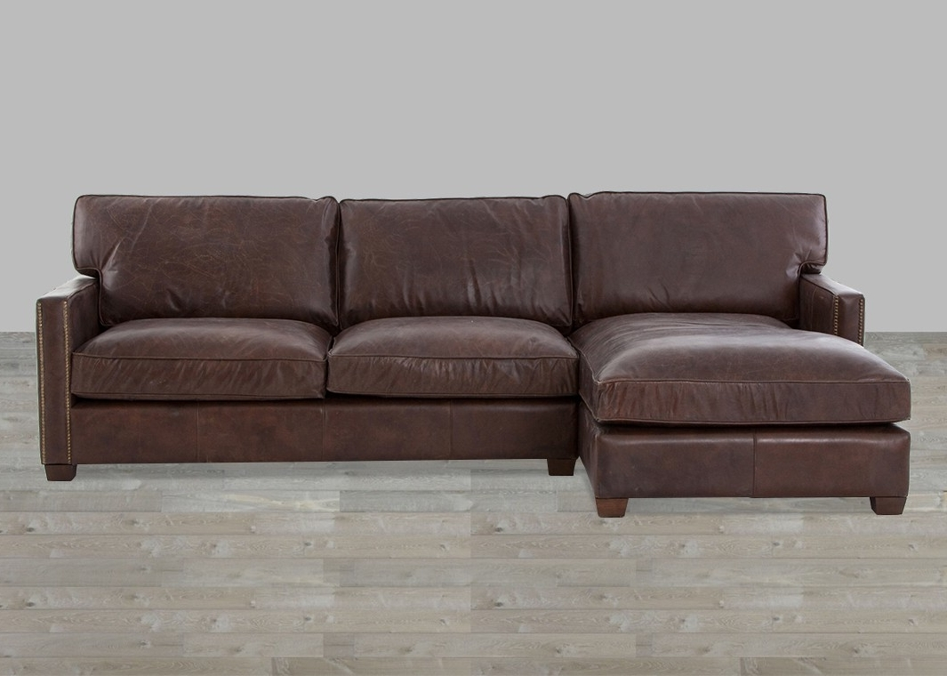 Current Leather Sectional Chaises In Cigar Top Grain Leather Sectional With Chaise (View 4 of 15)
