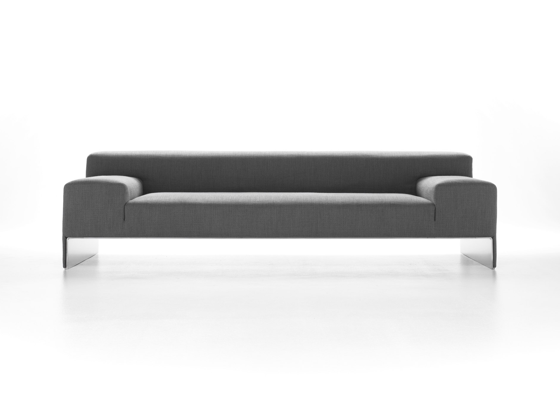 Current Minimalist Black Long Sofa With Wooden Legs And Soft Modern Skin Inside Long Modern Sofas (View 3 of 15)
