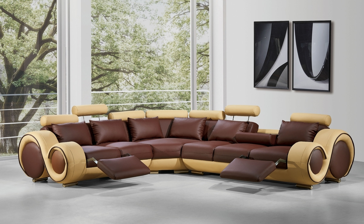 Current Modern Leather Sectional Sofa With Recliners pertaining to Leather Sectional Sofas