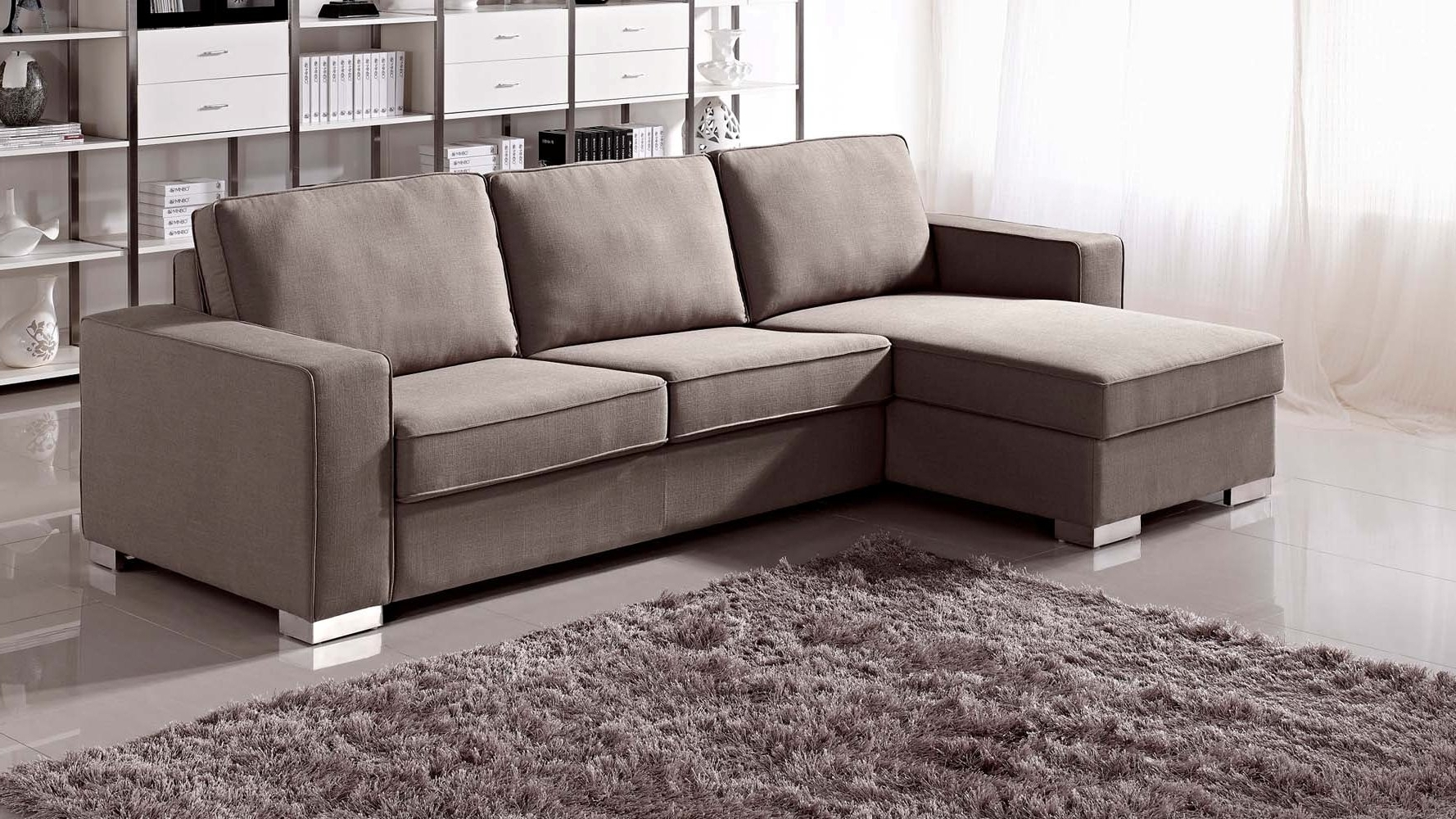 Current Modern Simple Sectional Sofa Sleeper With Storage And Purple Intended For Sleeper Sofas With Chaise (View 3 of 15)