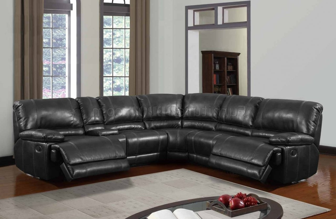 Current Motion Sectional Sofas Within U1953 Power Motion Sectional Sofa Black Bonded Leatherglobal (View 3 of 15)