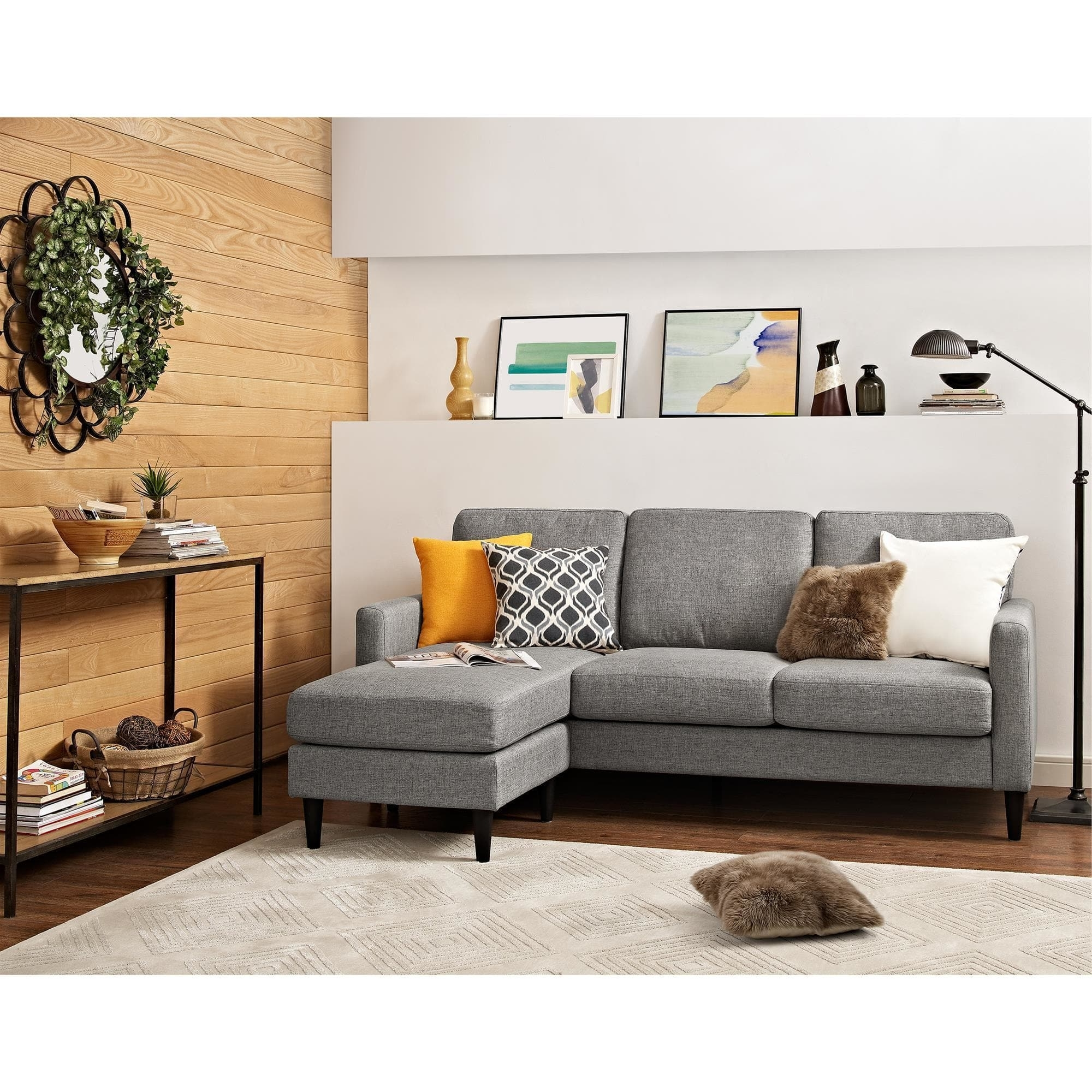 Current Overstock Sectional Sofas For Dorel Living Kaci Grey Sectional Sofa – Free Shipping On Orders (View 2 of 15)