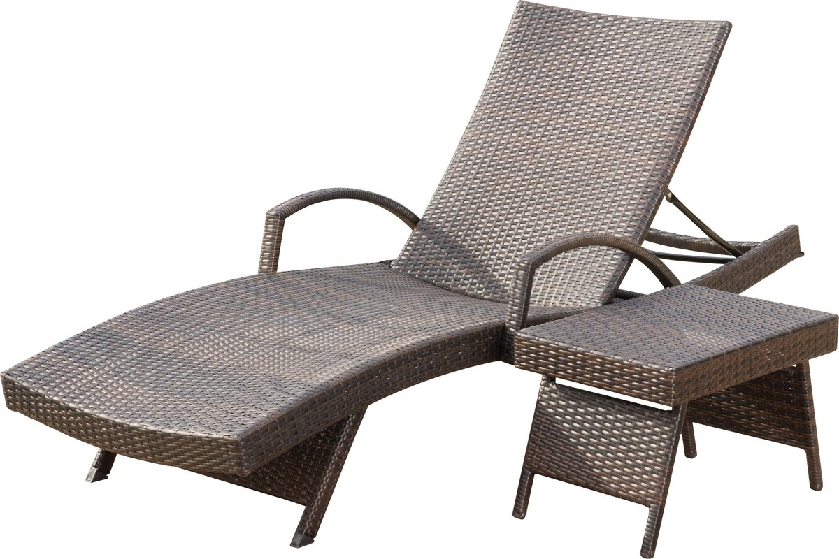 Current Peyton Adjustable Wicker Chaise Lounge And Table Set & Reviews Intended For Adjustable Chaise Lounges (View 10 of 15)