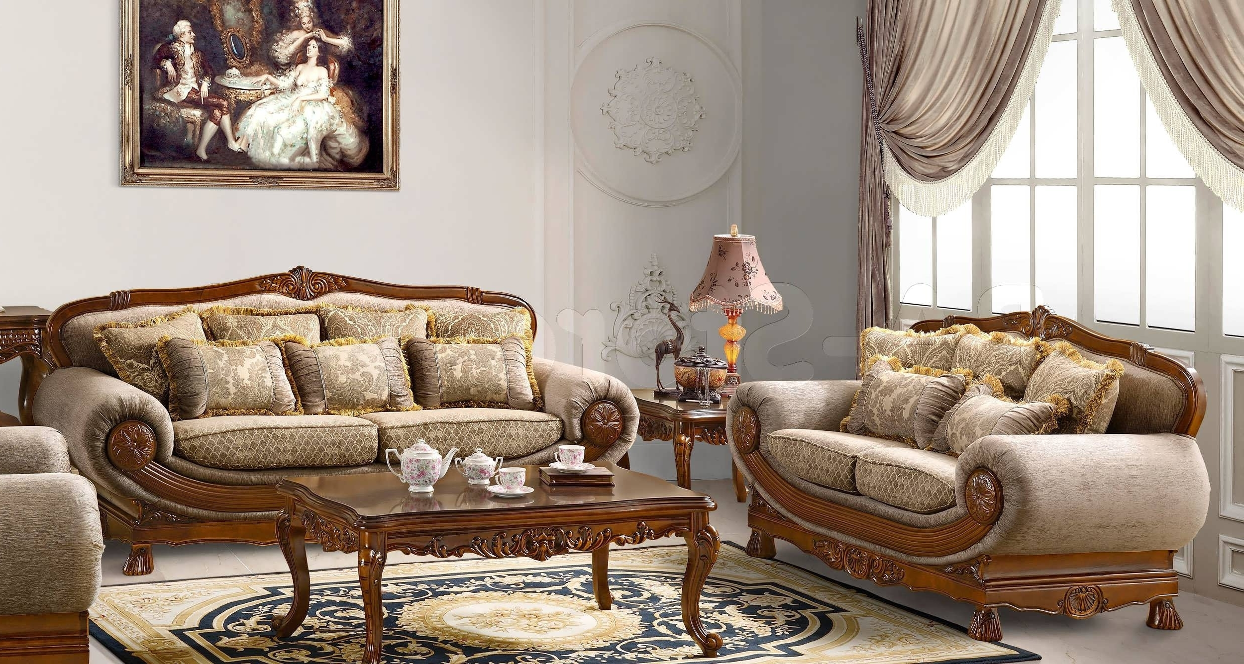 Current Traditional Sofas With Regard To Traditional Sofas With Wood Trim Traditional Sofa India Formal (View 12 of 15)
