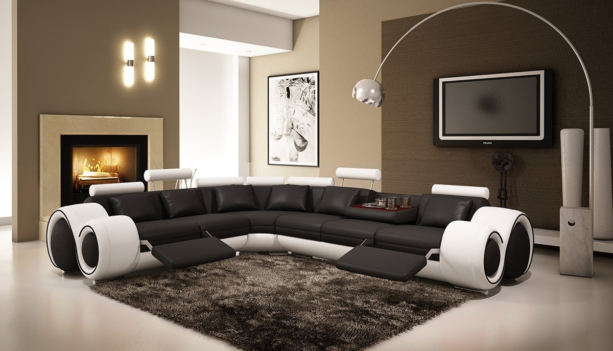 Curved Recliner Sofas With Regard To Most Popular Amazon: 4087 Black & White Bonded Leather Sectional Sofa With (View 4 of 15)