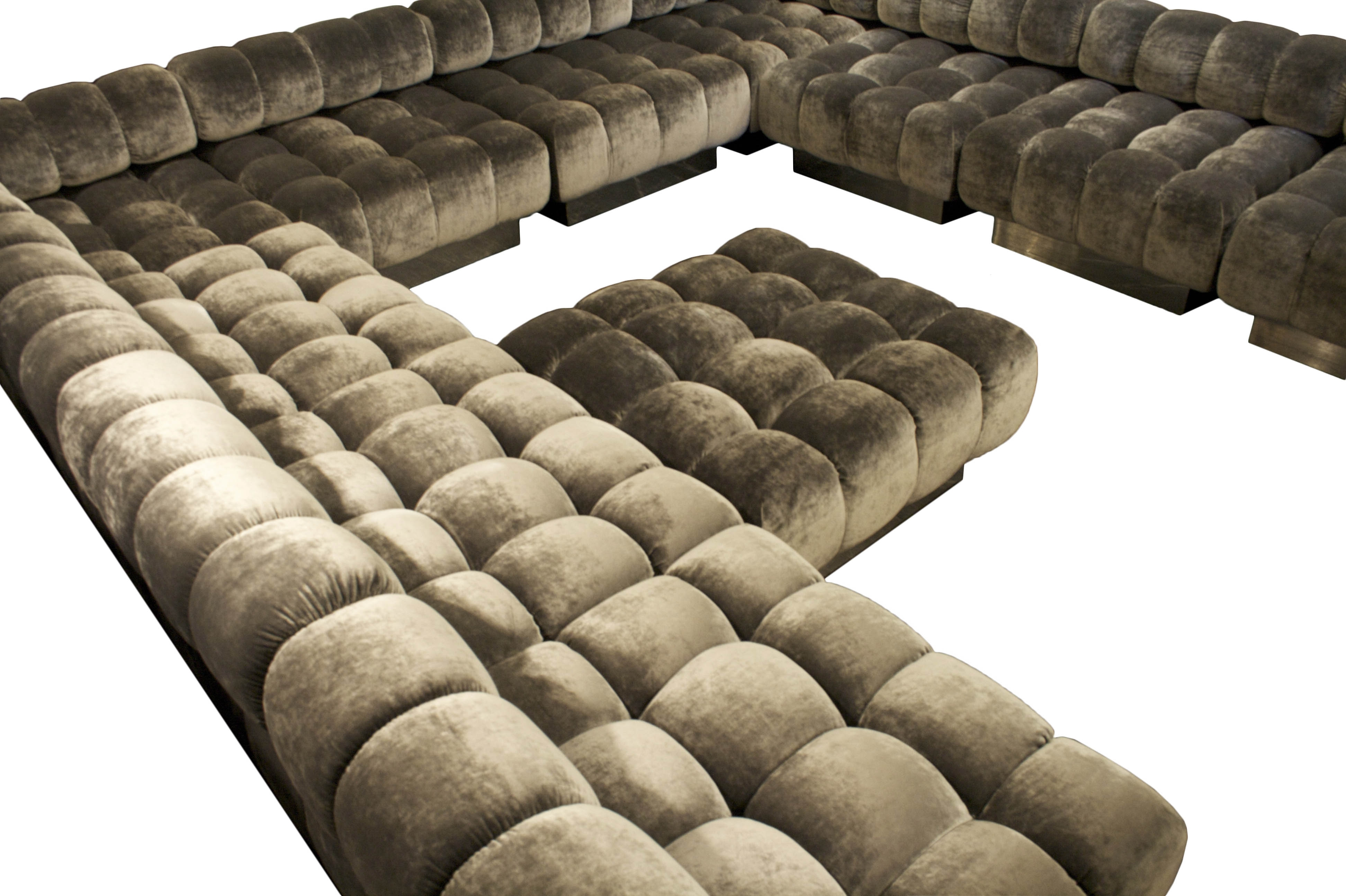 Customizable Sectional Sofas With Regard To Best And Newest Inspirational L Shaped White Faux Leather Tufted Sectional Sofas (View 6 of 15)