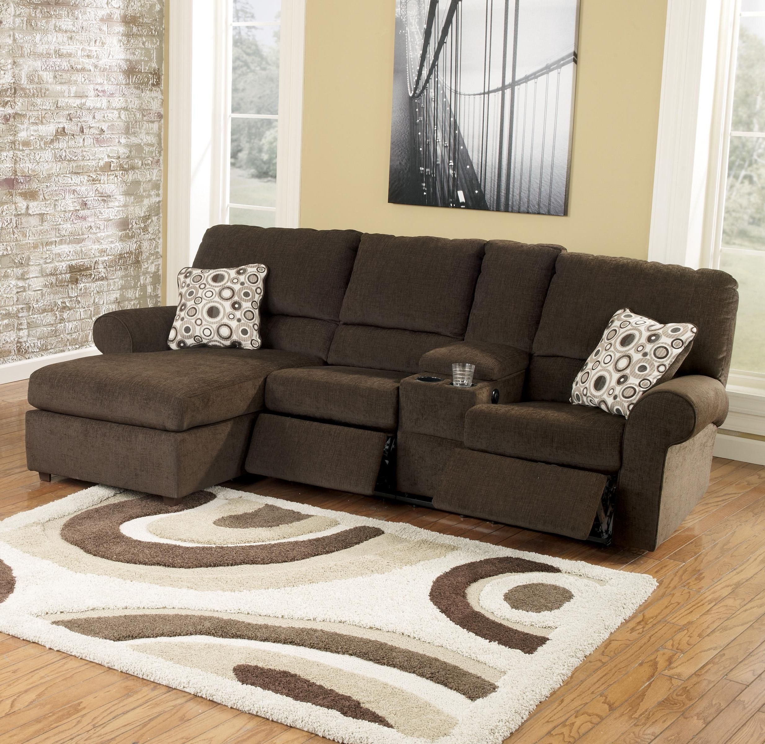 Cybertrack – Chocolate Power Reclining Sectionalsignature With Regard To Well Liked Sofas With Consoles (View 5 of 15)