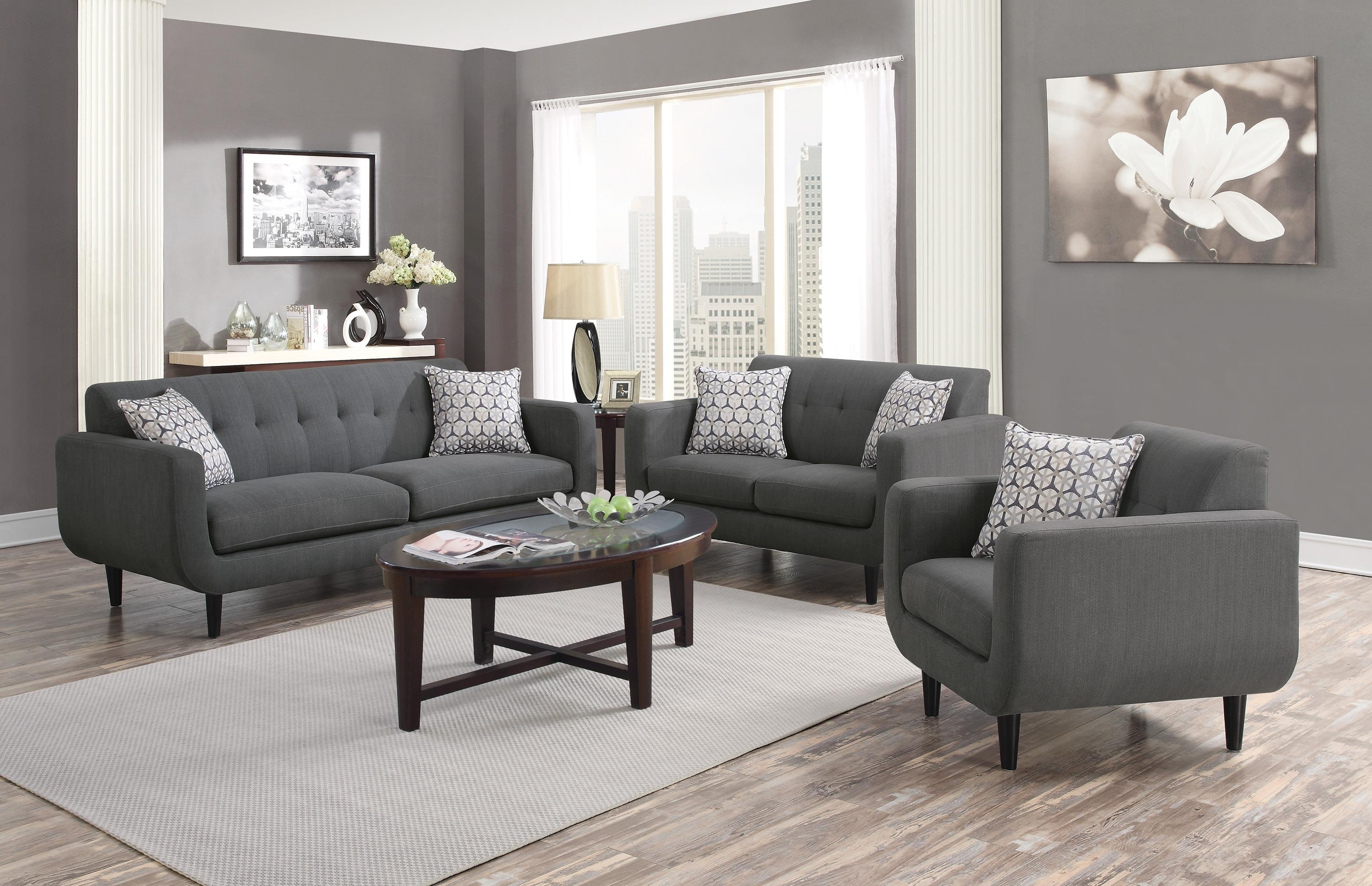 Dallas Texas Sectional Sofas Intended For Famous Coaster Stansall 2Pc Grey Sofa & Loveseat Set Dallas Tx (View 3 of 15)