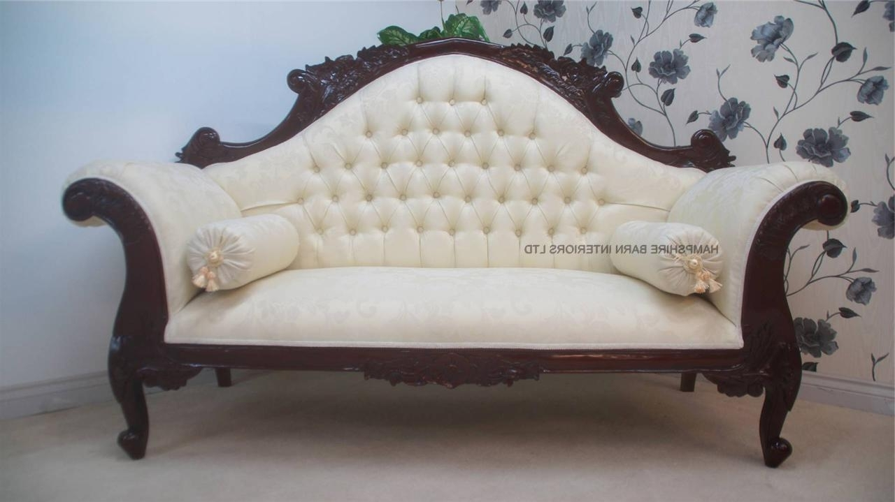 Damask Chaise Lounge Chairs Throughout Newest Antique Replica Charles Louis Cuddler Sofa Chaise In Mahogany With (View 7 of 15)