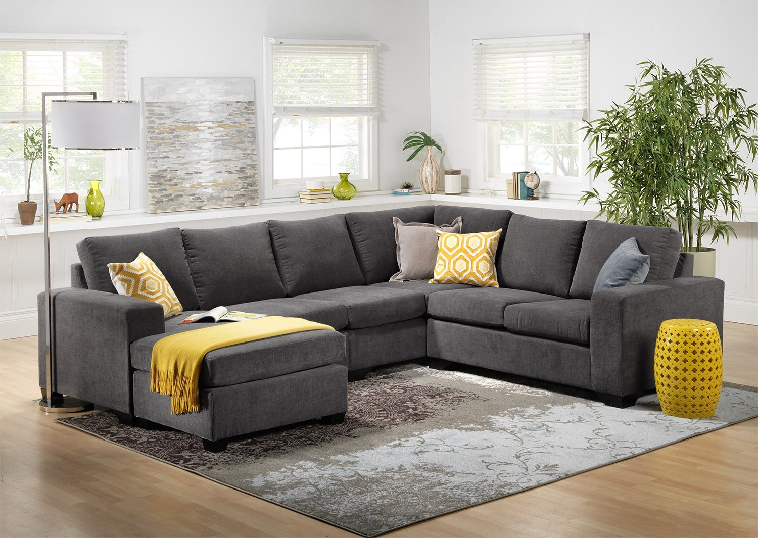 Danielle 3 Piece Sectional With Right Facing Corner Wedge – Grey Throughout Newest Scarborough Sectional Sofas (View 3 of 15)