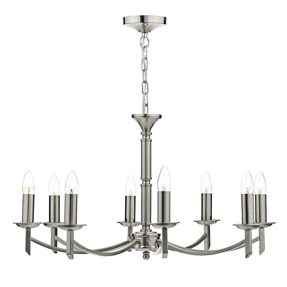 Dar Lighting Ambassador 8 Light Chandelier Pendant In Satin Chrome Within Fashionable Chandelier Chrome (View 9 of 15)