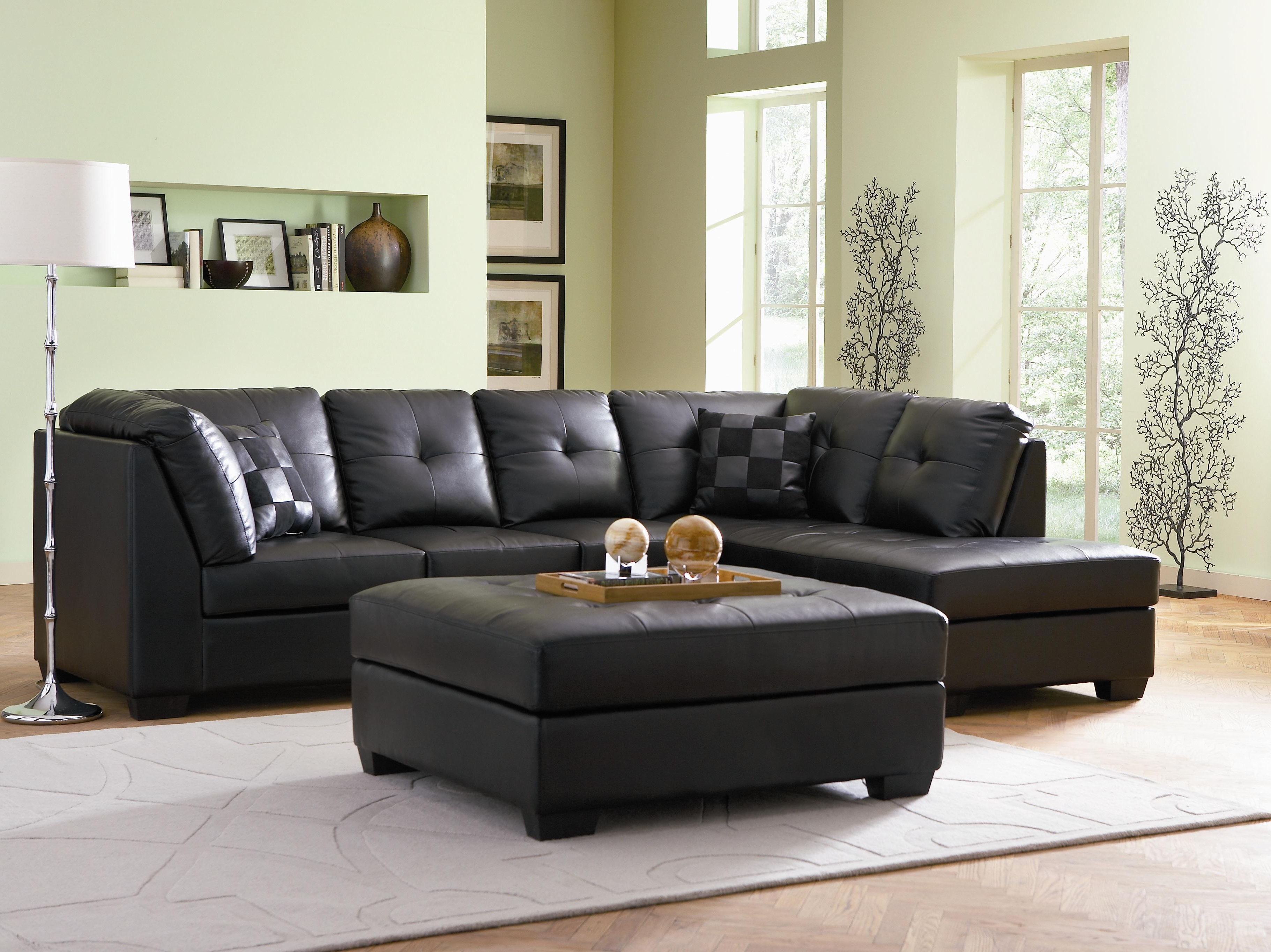 Darie Contemporary Style Black Bonded Leather Sofa Sectional W Regarding Most Popular Black Leather Sectionals With Ottoman (View 8 of 15)