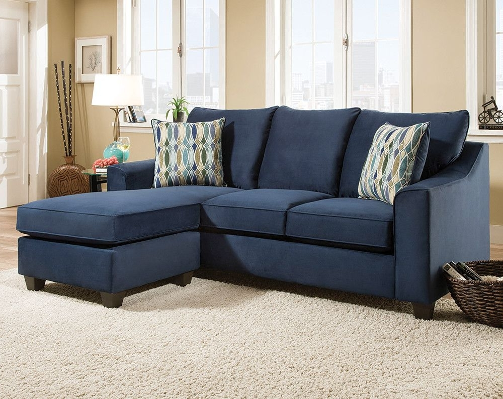 Dark Blue Sofa With Accent Pillows (View 5 of 15)