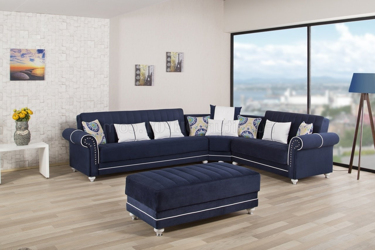 Dark Blue Sofas With Trendy Royal Home Sectional Sofa In Dark Blue Fabriccasamode (View 5 of 15)