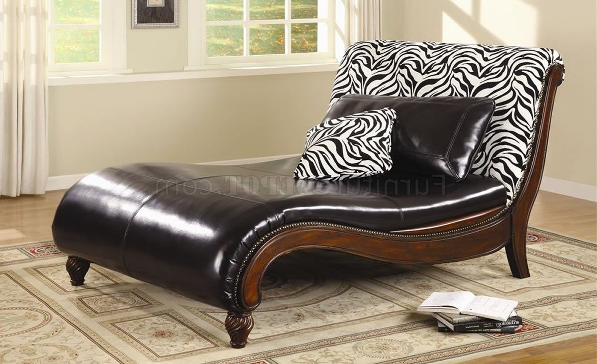 Dark Brown Bycast Leather Stylish Chaise Lounge W/zebra Back Inside Well Known Leather Chaises (View 4 of 15)